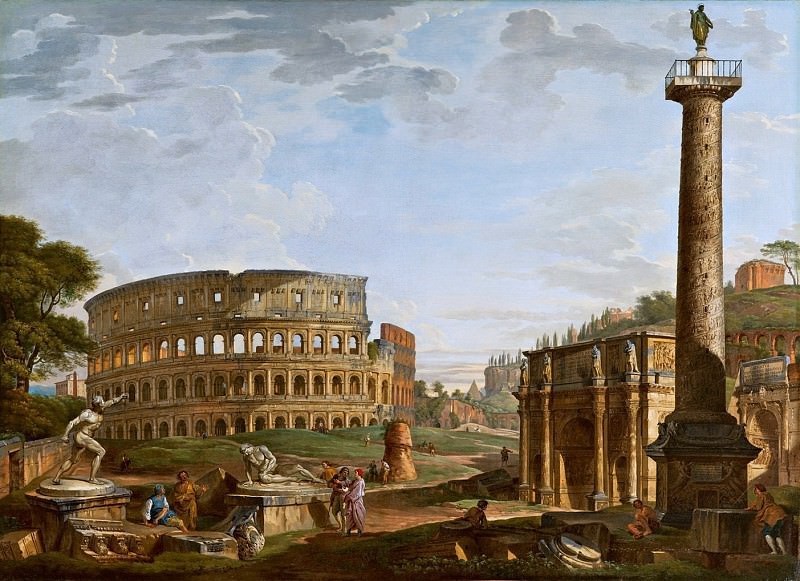 Capriccio with a view of the Colosseum and the Arch of Constantine. Giovanni Paolo Panini