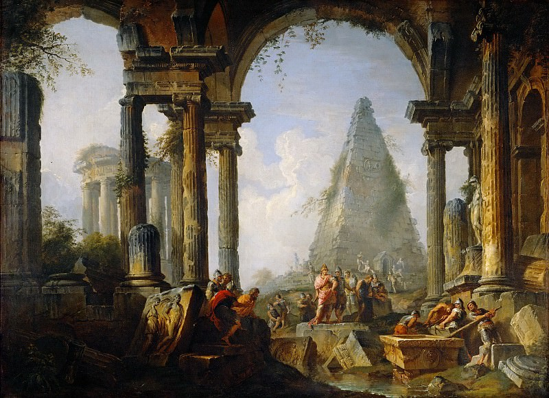 Alexander the Great before the tomb of Achilles. Giovanni Paolo Panini