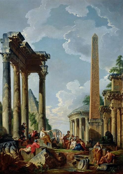 Architectural Capriccio with a Preacher in the Ruins. Giovanni Paolo Panini