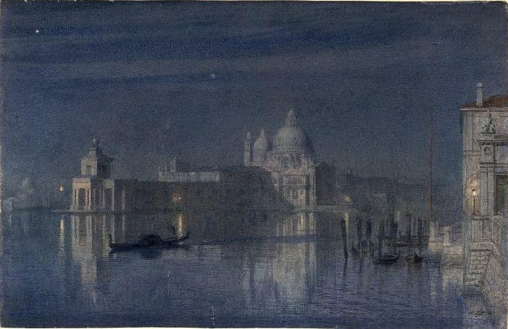 Santa Maria della Salute, Venice, Moonlight. Edward John Poynter
