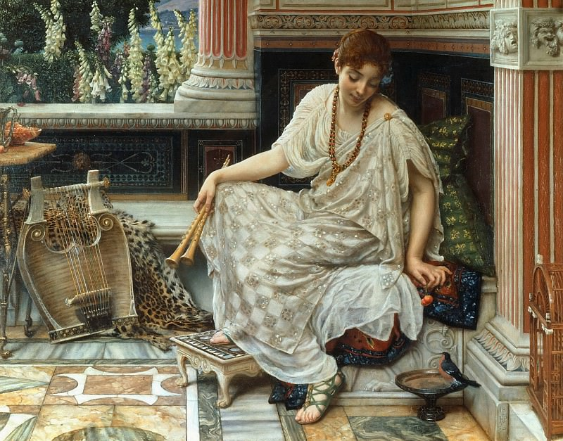 """Chloe Dulcis Docta Modos et Citherae Sciens (From Horace, """"Odes"""", Book 3, no. 9: Chloe skilled in sweet measures & mistress of the lyre). Edward John Poynter"""