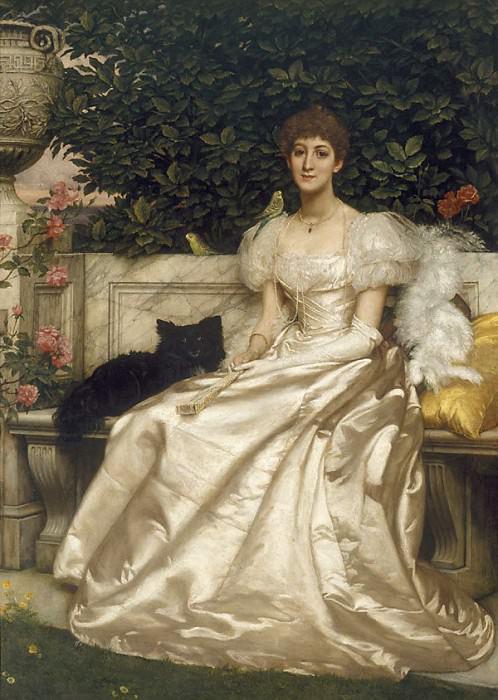 Violet Monckton with her budgerigars. Edward John Poynter