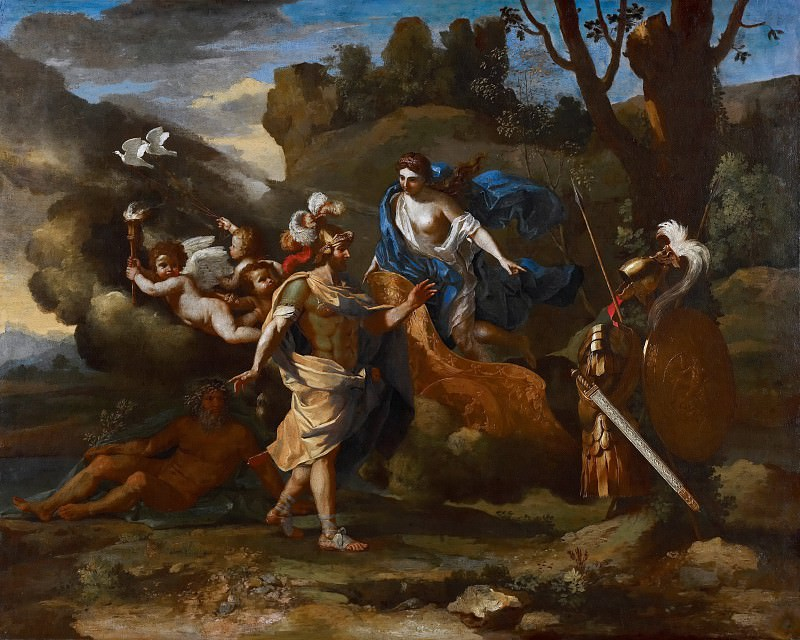 Venus, Mother of Aeneas, presenting him with Arms forged by Vulcan. Nicolas Poussin