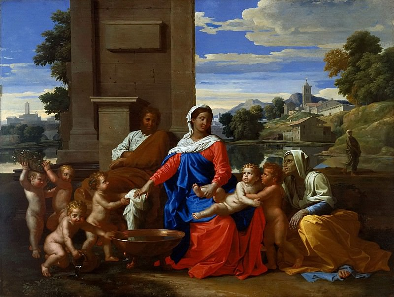 The Holy Family with the Infant Saint John the Baptist and Saint Elizabeth. Nicolas Poussin