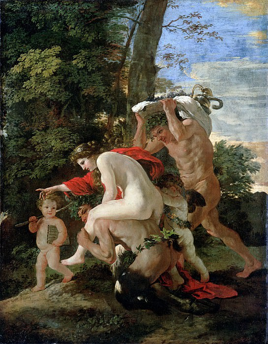 Nymph riding a satyr. Nicolas Poussin