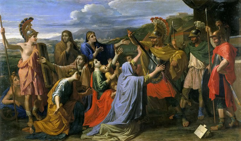 Coriolanus entreated by his wife and his mother. Nicolas Poussin
