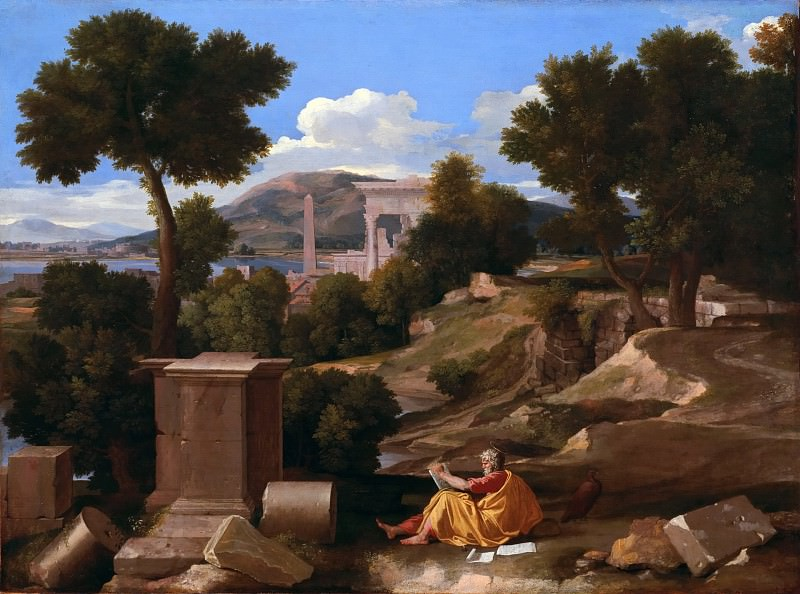 Landscape with saint John on Patmos. Nicolas Poussin