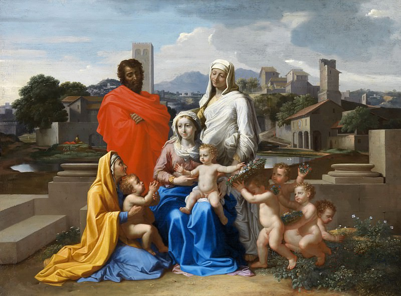 The Holy Family with Saints Anne, Elizabeth and John the Baptist. Nicolas Poussin