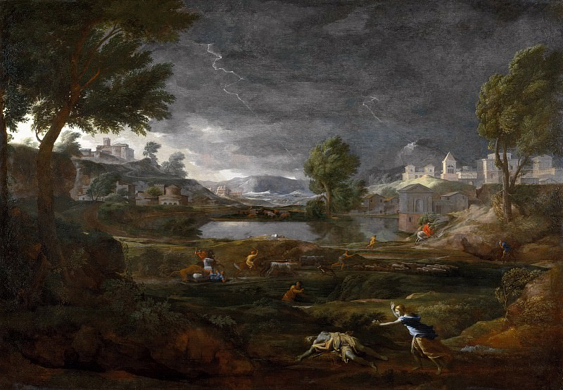 Strormy Landscape with Pyramus and Thisbe. Nicolas Poussin