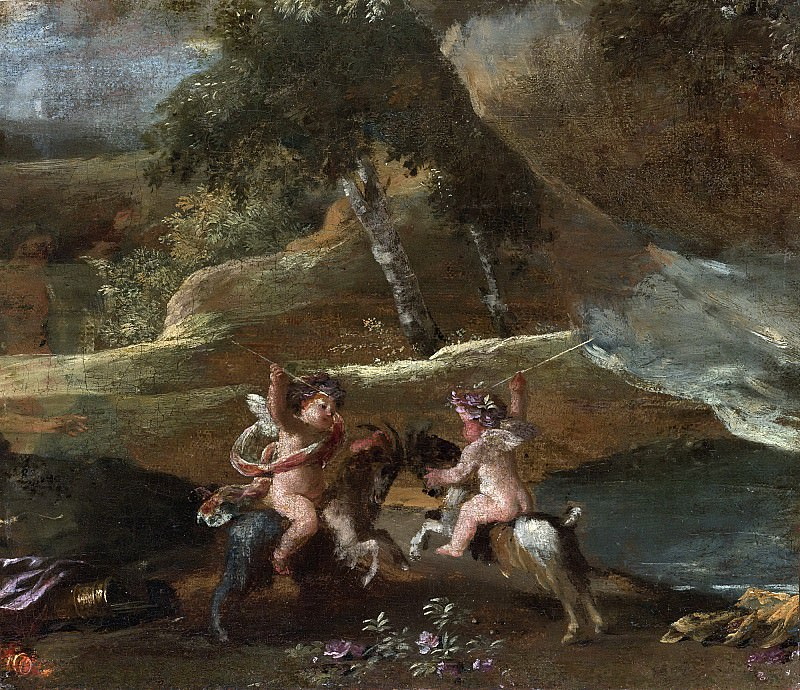 Two Putti Fighting, Mounted On Goats. Nicolas Poussin