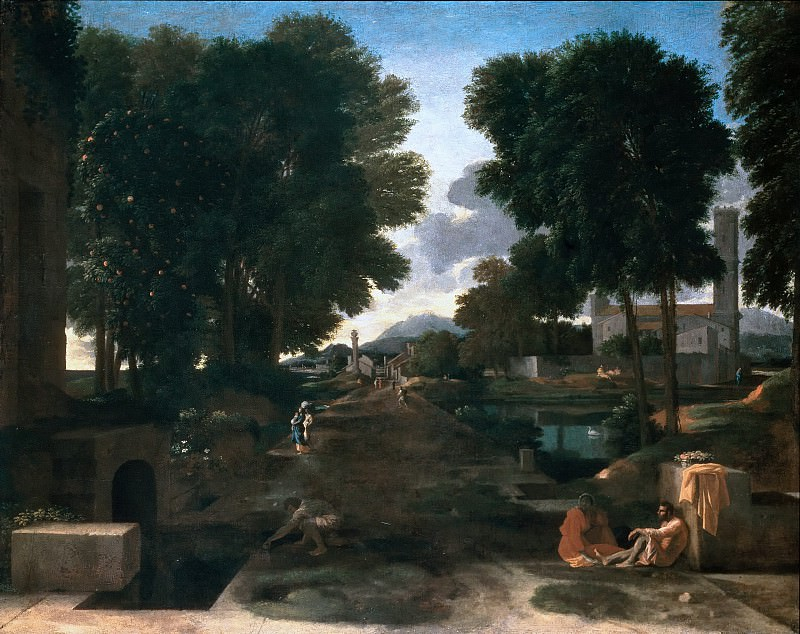 Landscape with Travellers Resting. Nicolas Poussin