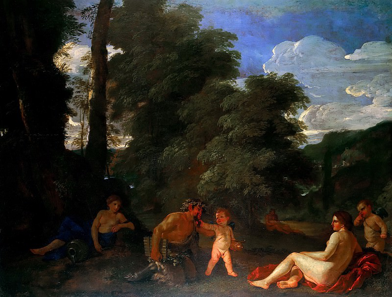 Nymphs and a Satyr. Nicolas Poussin