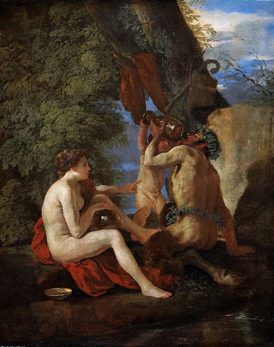 Nymph and Satyr. Nicolas Poussin