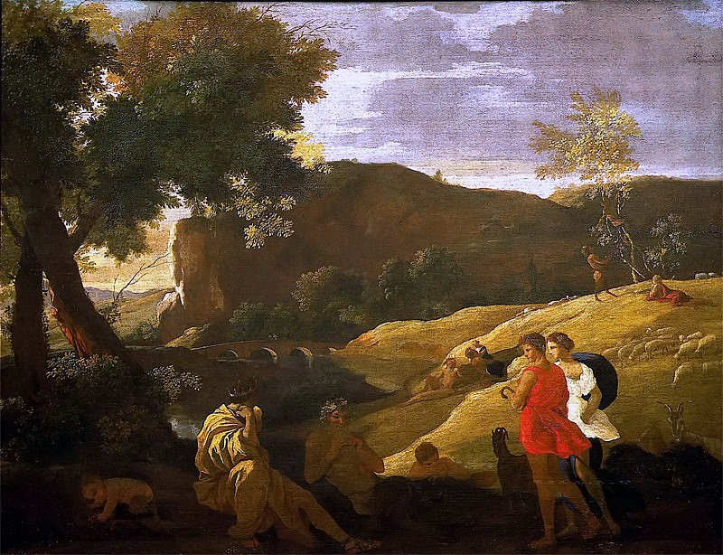 An Arcadian Landscape with stories from the legends of Pan and Bacchus. Nicolas Poussin