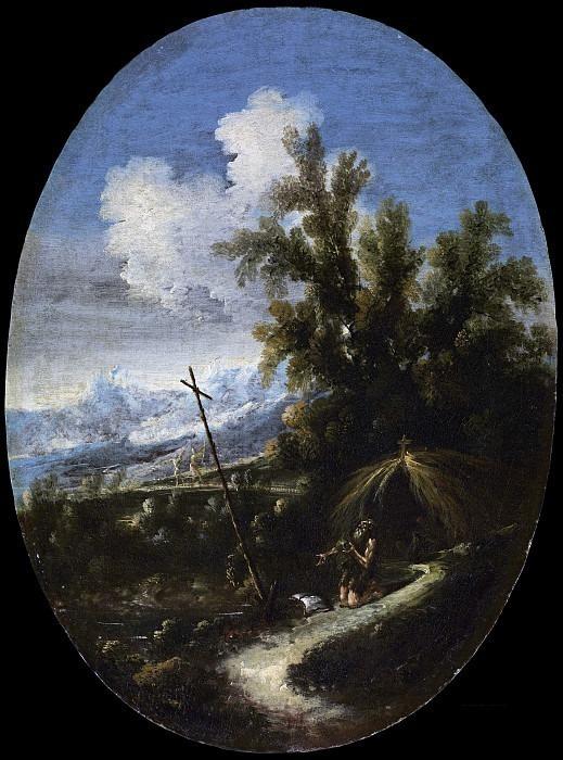 Пейзаж с отшельником в молитве. Антонио Франческо Перуццини