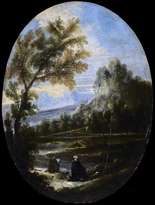 Пейзаж с молящимися монахами. Антонио Франческо Перуццини