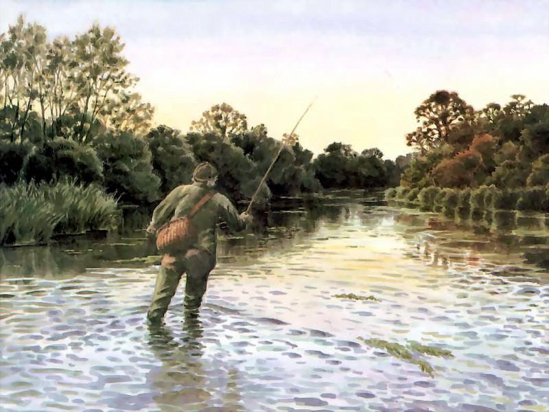 Ловля рыбы с наступлением вечера. Бенджамин Перкинс
