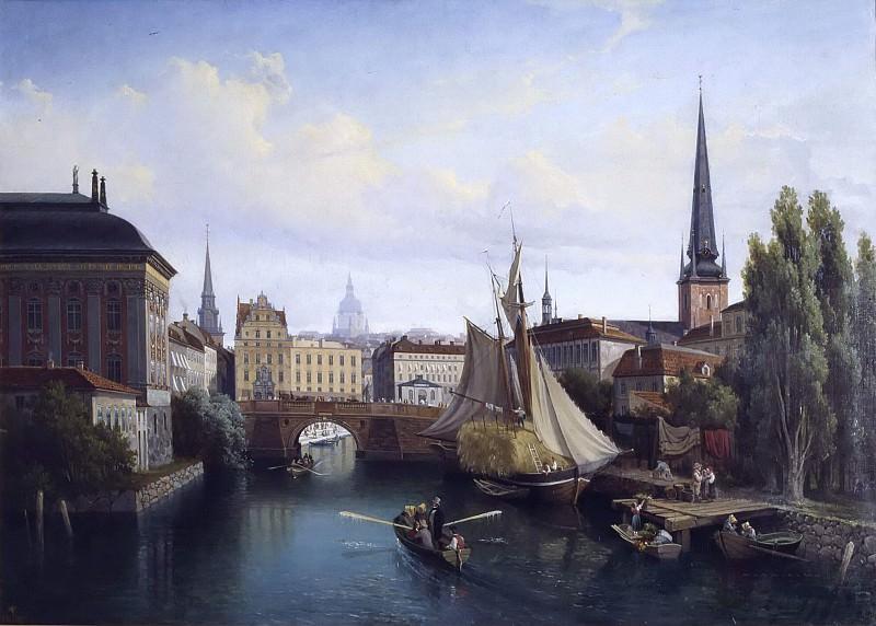 View of the Riddarholmskanalen, Stockholm, 1835. Gustaf Wilhelm Palm