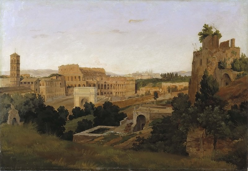 View of Rome with the Colosseum. Study. Gustaf Wilhelm Palm