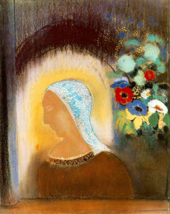 Redon Profile and flowers, 1912 Pastel on paper, 70.2 x 55.. Odilon Redon