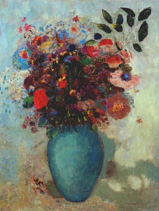 redon flowers in turquoise vase c1910. Odilon Redon