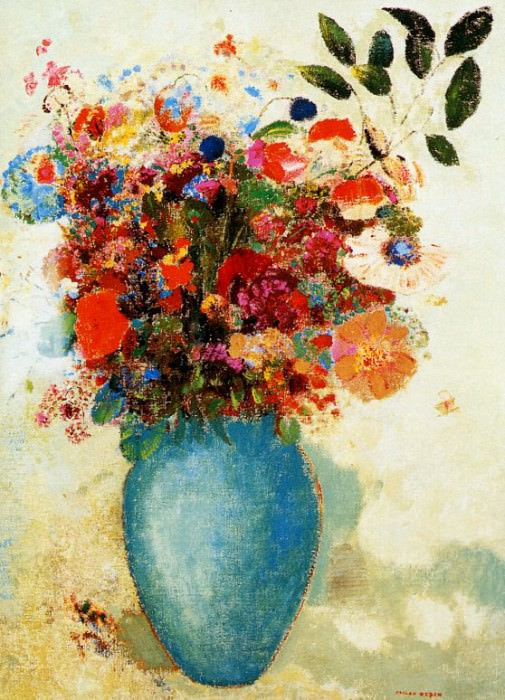 Flowers in a Turquoise Vase. Odilon Redon