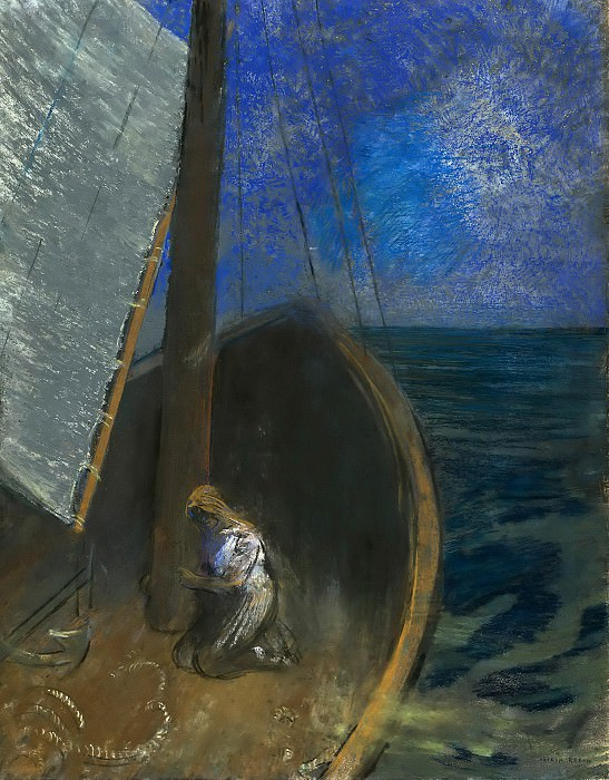 Holy woman in a boat. Odilon Redon