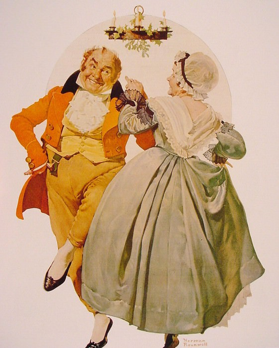 Merry Christmas Couple Dancing. Norman Rockwell
