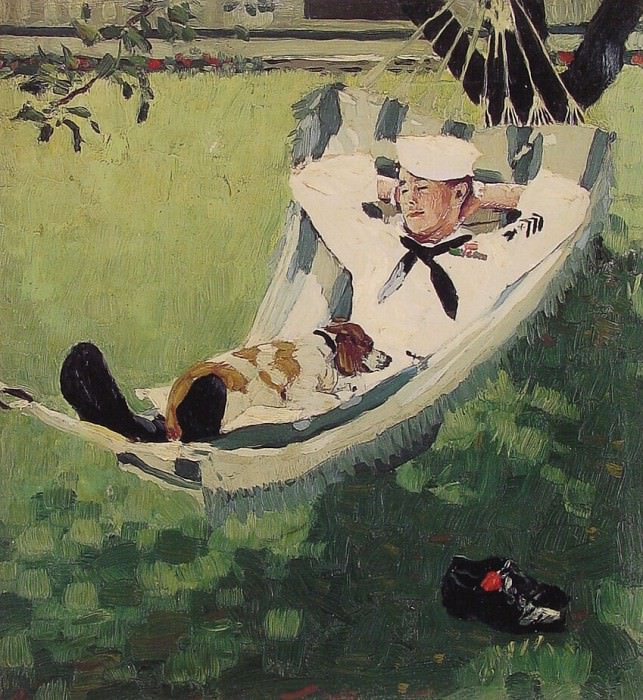 Study for home on Leave. Norman Rockwell
