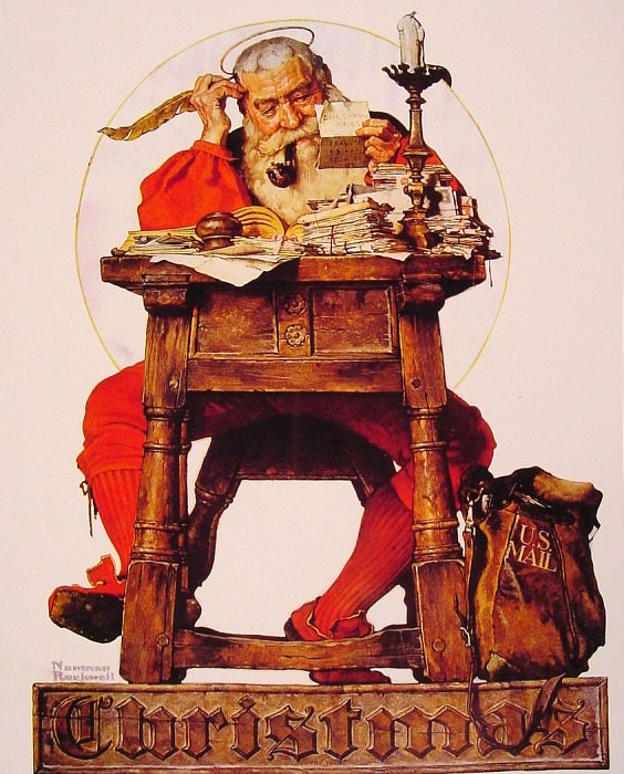 Christmas Santa Reading Mail. Norman Rockwell
