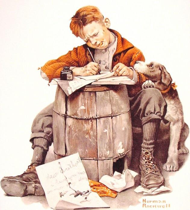 Little Boy Writing a Letter. Norman Rockwell