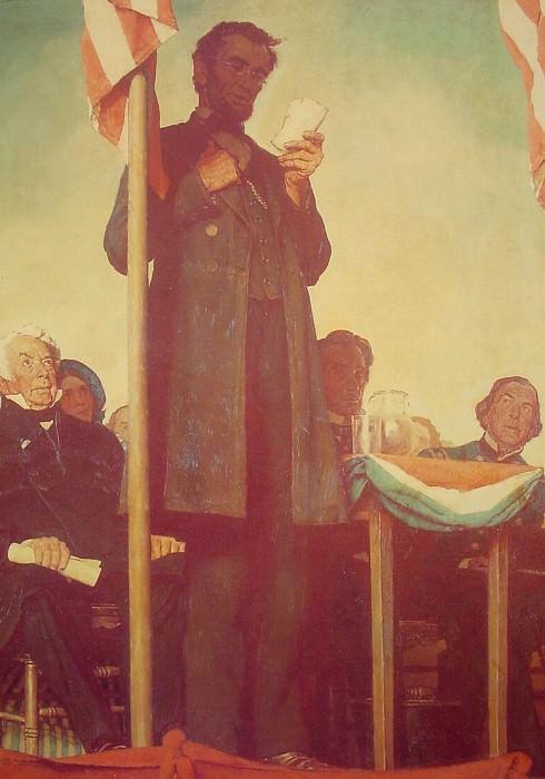 Abraham Delivering the Gettysburg Address. Norman Rockwell