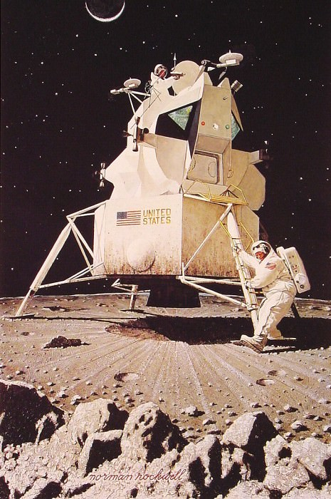 Man on the moon. Norman Rockwell