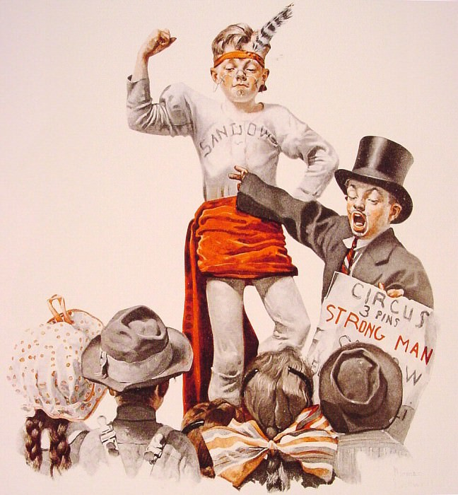The Circus-Barker. Norman Rockwell
