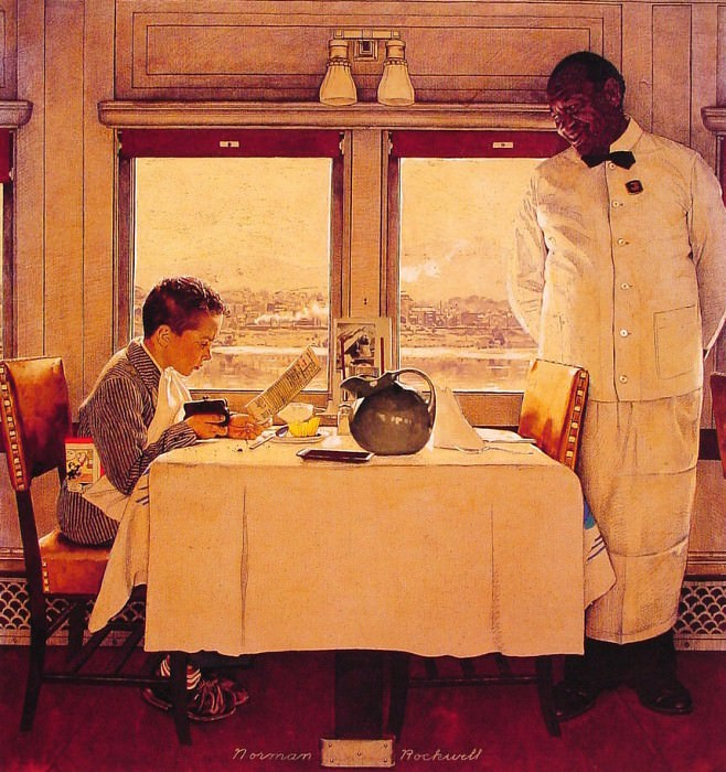 Boy in A dining Car. Norman Rockwell