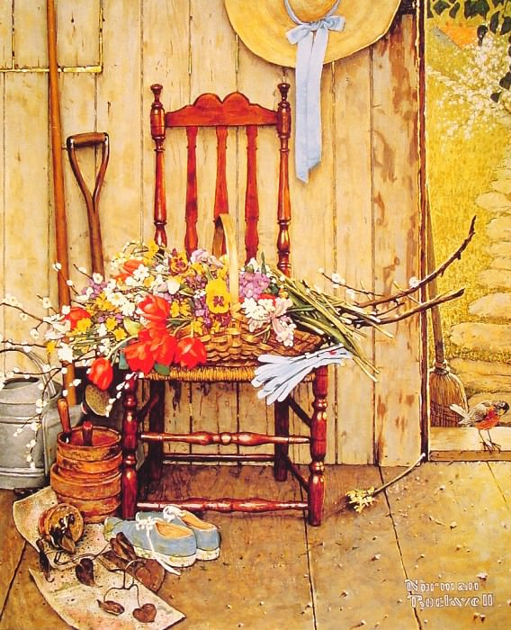 Spring Flowers. Norman Rockwell