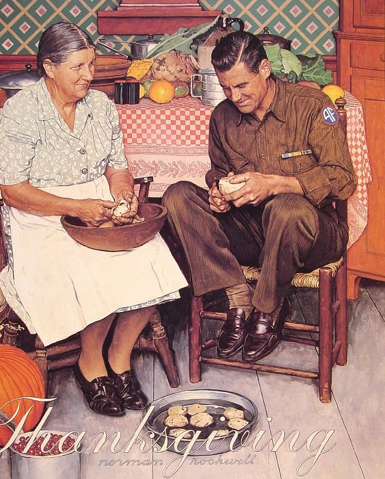 Thanksgiving Mother and Son Peeling Potatoes. Norman Rockwell