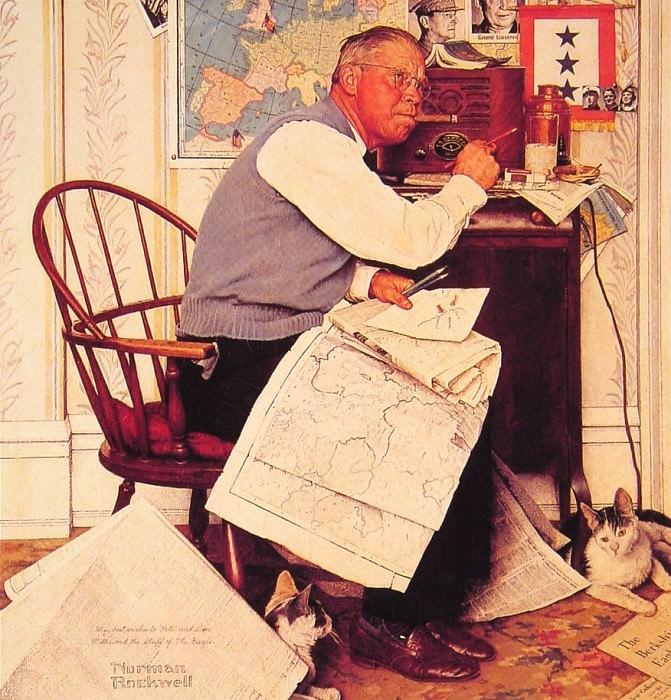 Man Charting War Maneuvers. Norman Rockwell