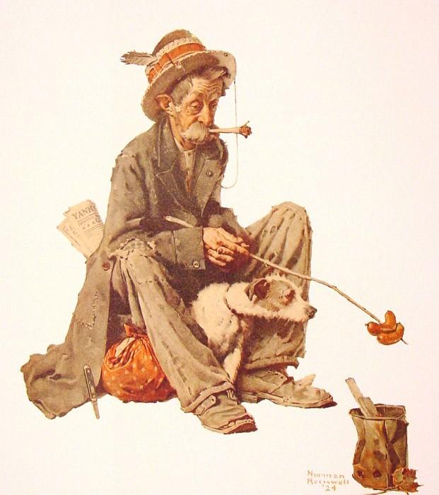 Hobo and Dog. Норман Роквелл