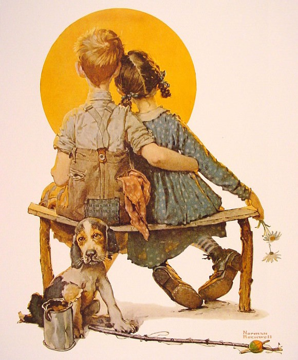 Boy and Girl Gazing at Moon. Norman Rockwell