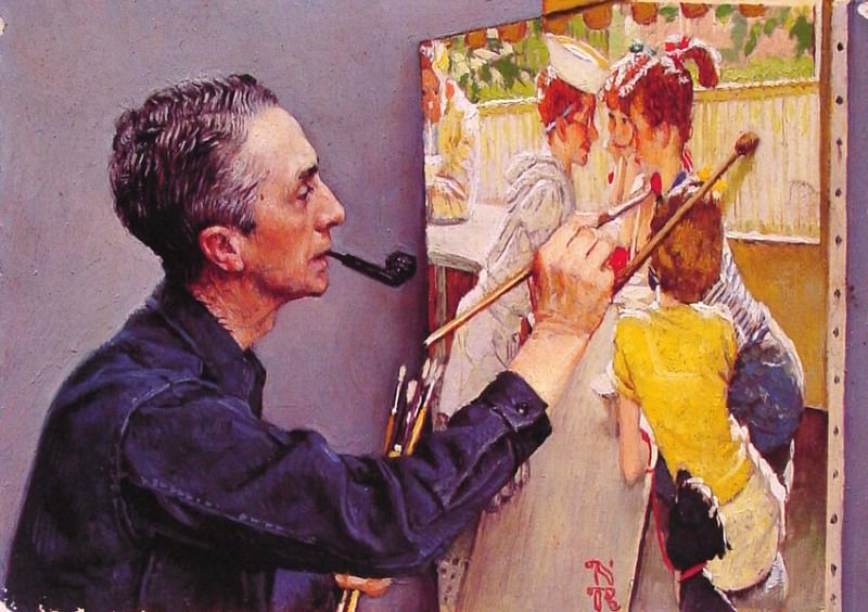 Rockwell Painting the Soda Jerk. Norman Rockwell