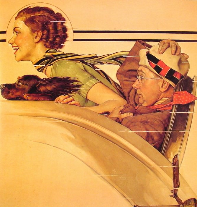 Couple in rumbleseat. Norman Rockwell