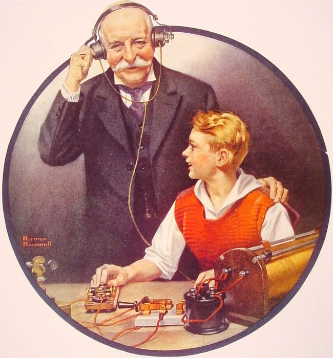 Grandpa Listening In on the Wireless. Norman Rockwell
