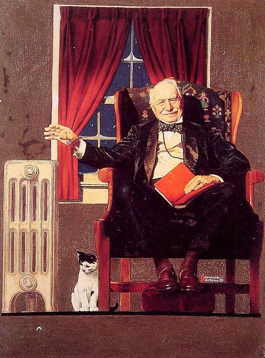 Man Seated by Radiator. Norman Rockwell