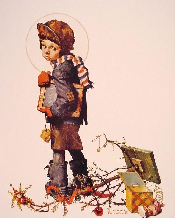 Little Boy Holding Chalk Board. Norman Rockwell