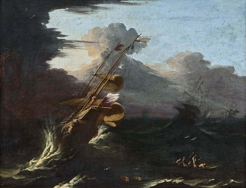 Ships in a Gale. Salvator Rosa (Manner of)