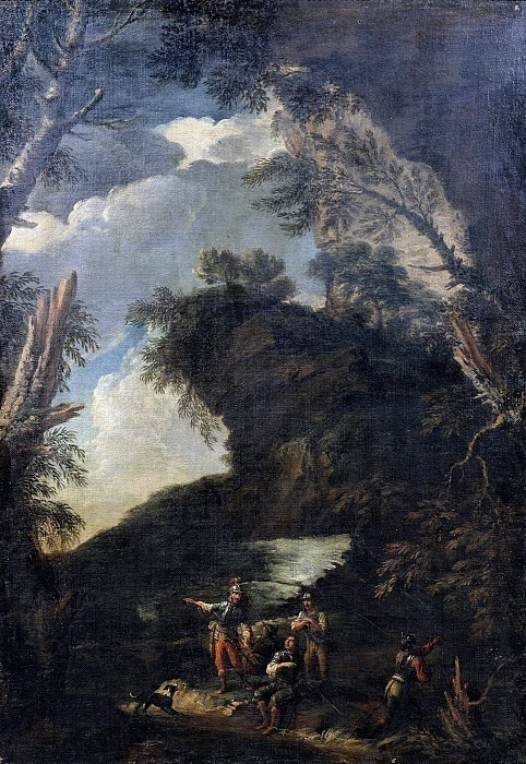 Пейзаж с деревьями и солдатами. Сальватор Роза (Последователь)