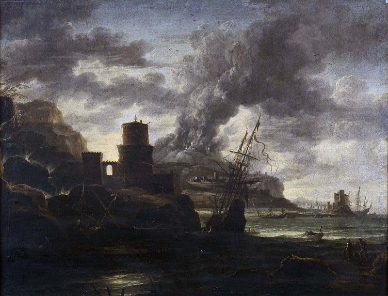 Harbour Scene. Salvator Rosa (School of)