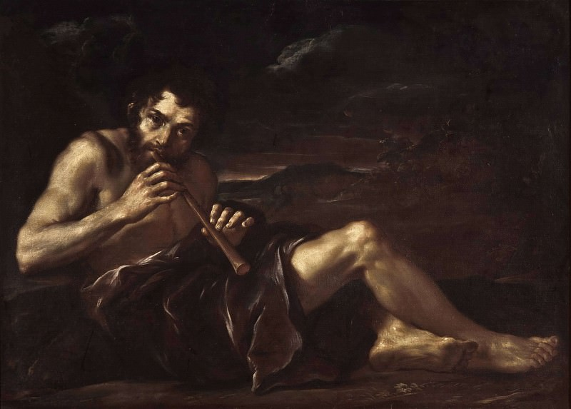 Shepherd Playing the Pipe. Salvator Rosa (Manner of)