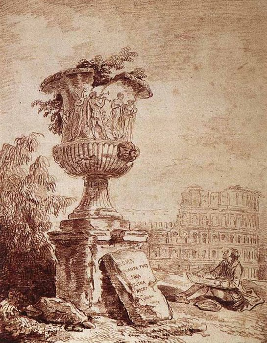 The Draughtsman Of The Borghese vase. Hubert Robert